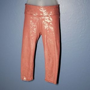 Fabletics Salar Capri Blush Pink w Rose Gold print